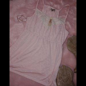 Decree blush pink crochet detail baby doll tank